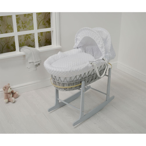Cuddles Collection Dimple Grey Wicker Moses Basket + Rocking Stand - White/Grey