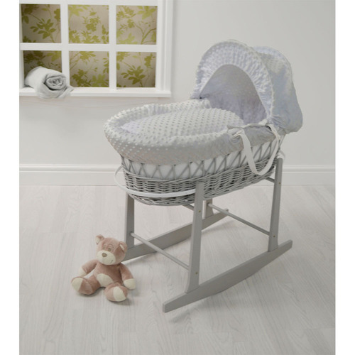 Cuddles Collection Dimple Grey Wicker Moses Basket + Rocking Stand - Grey