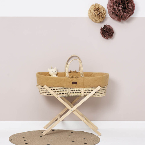 Little Green Sheep Natural Quilted Moses Basket & Mattress - Honey