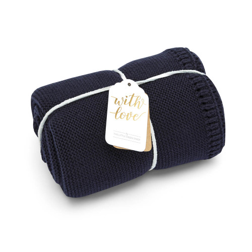 Little Green Sheep Organic Knitted Cellular Baby Blanket - Midnight