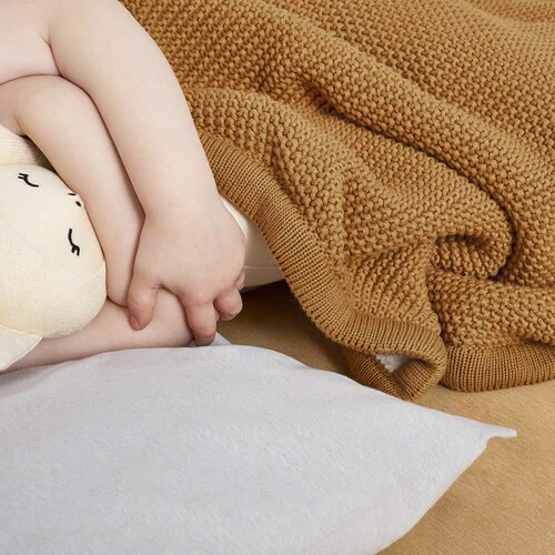 Little Green Sheep Organic Knitted Fleece Baby Blanket - Honey