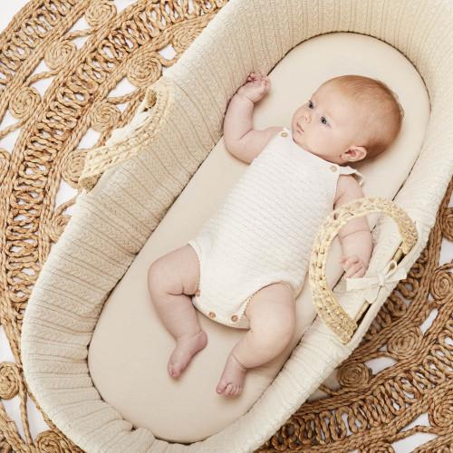 Little Green Sheep Organic Moses Basket Fitted Sheet - Linen