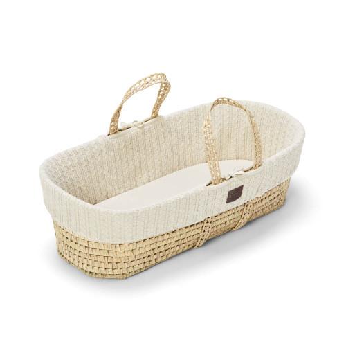 The Little Green Sheep Natural Knitted Moses Basket & Mattress - Linen