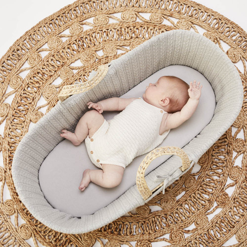 Little Green Sheep Organic Moses Basket Fitted Sheet - Dove