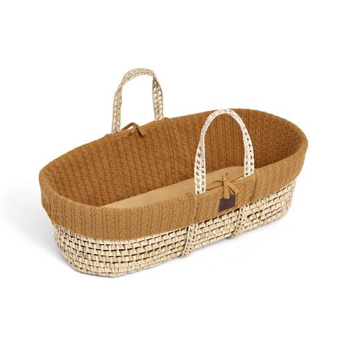 The Little Green Sheep Natural Knitted Moses Basket & Mattress - Honey
