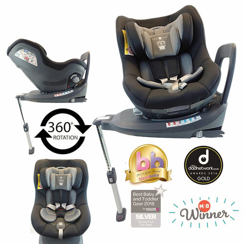 Cozy N Safe Merlin 360 0+/1 Car Seat - Black/Grey (Grey Shell)