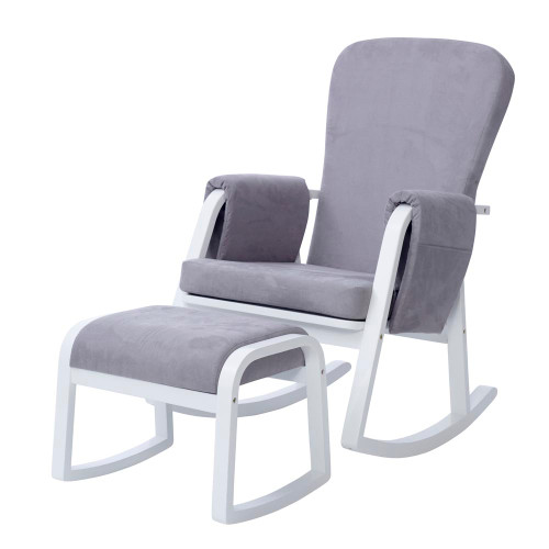 Ickle Bubba Dursley Rocking Chair and Stool - Pearl Grey