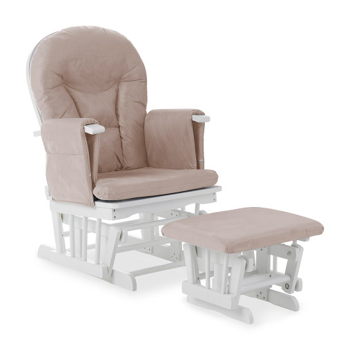 Obaby Reclining Glider Chair and Stool - White with Sand Cushion