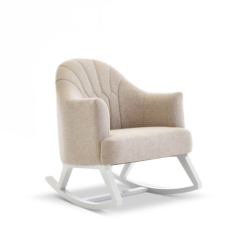 Obaby Round Back Rocking Chair - White with Oatmeal Cushion