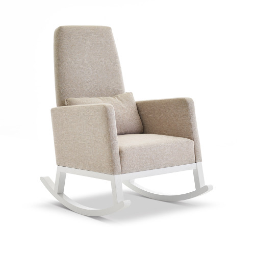 Obaby High Back Rocking Chair - White with Oatmeal Cushion