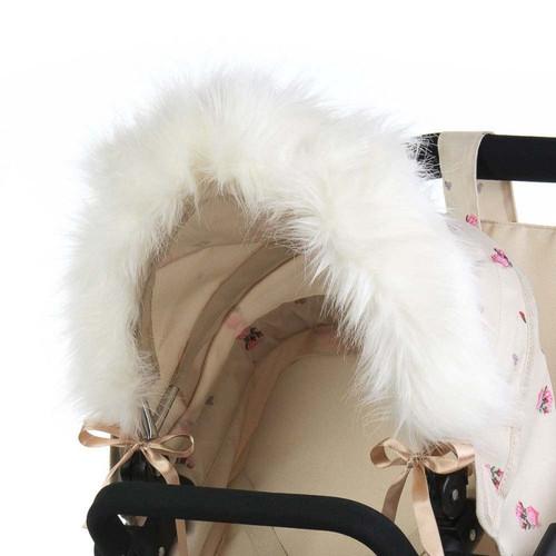 Roma Dolls Pram Hood Fur - Cream