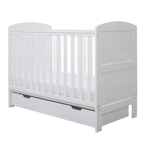 Ickle Bubba Coleby Mini Cot Bed & Under Drawer - White