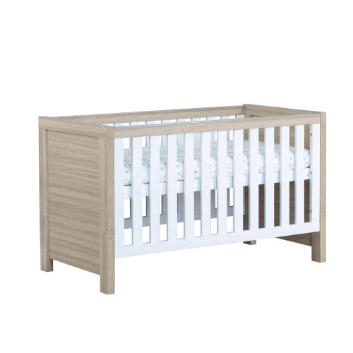 Babymore Luno Cot Bed - Oak/White