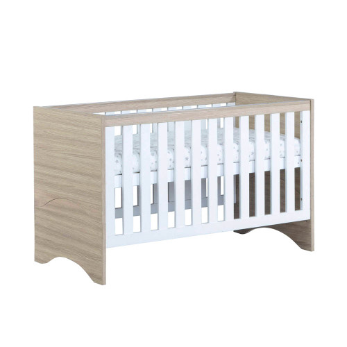 Babymore Veni Cot Bed - Warm Oak/White