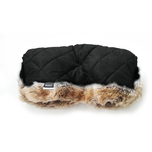 Bozz Hand Warmer Fleece With Fur - Black Melange