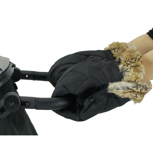 Bozz Hand Warmer Fleece With Fur - Black Melange