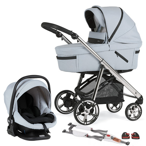 Bebecar Pack V Cross + Lie Flat Car Seat, LA3 Kit & Raincover - Sky Blue (162)