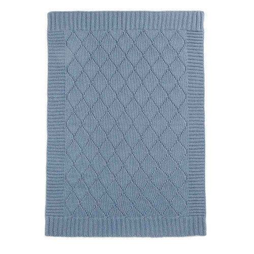 Mamas & Papas Knitted Blanket - 70 x 90cm - Denim Blue Cable