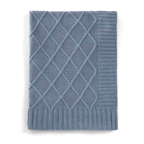 Mamas & Papas Knitted Blanket - 70 x 90cm - Denim Blue Cable (folded)