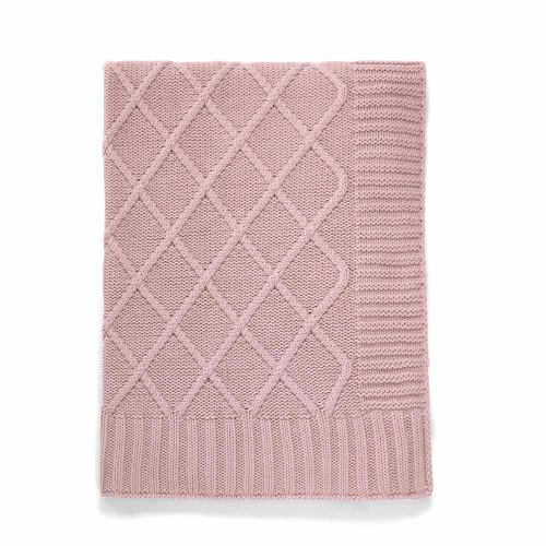 Mamas & Papas Knitted Blanket - 70 x 90cm - Dusky Rose (folded)