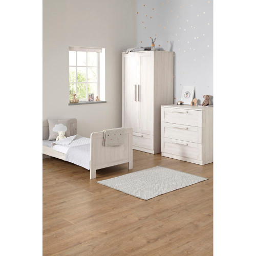 Mamas & Papas Atlas 3 Piece Cot/Toddler Bed Set - Nimbus White (bed lifestyle)