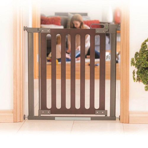 Fred Pressure Fit Wooden Stairgate - Dark Oak Wood/Dark Grey