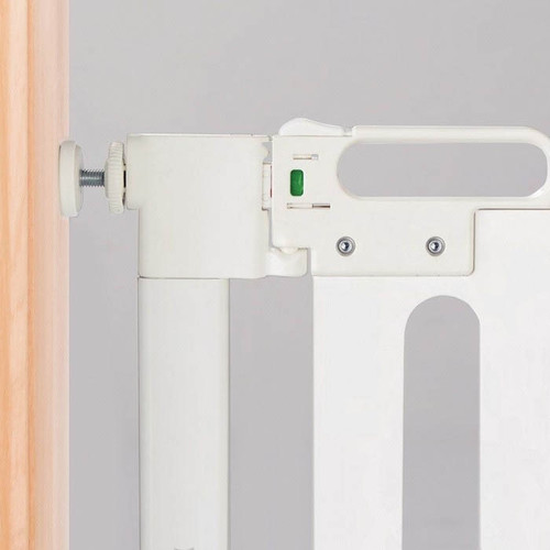 Fred Pressure Fit Wooden Stairgate - White Wood/Pure White (close up)