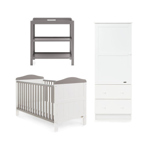 Obaby Whitby 3 Piece Room Set - White with Taupe Grey
