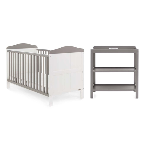 Obaby Whitby 2 Piece Room Set - White with Taupe Grey