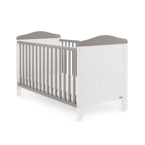 Obaby Whitby 2 Piece Room Set - White with Taupe Grey (cot)