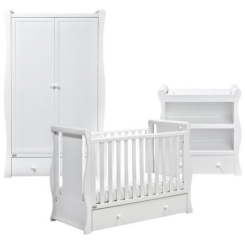 East Coast Nebraska 3 Piece Cot2bed Room Set - White