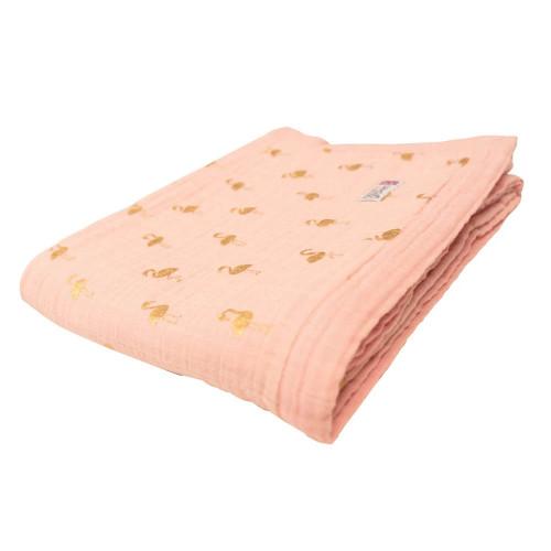 Bizzi Growin Muslin 3 Ply Blanket - Gold Flamingo