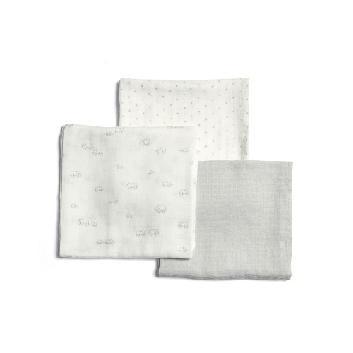 Mamas & Papas Large Muslin Squares (Pack of 3) - Welcome to the World Elephant