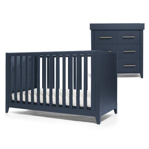 Mamas & Papas Melfi Cot Bed & Dresser - Midnight Blue