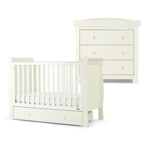 Mamas & Papas Mia Sleigh 2 Piece Cot Set with Undercot Storage - White