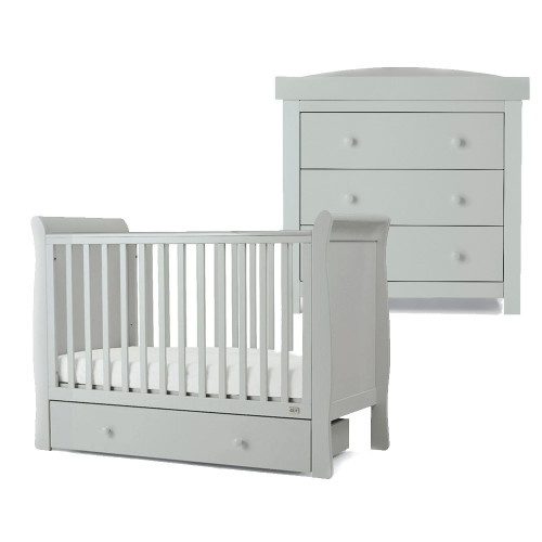 Mamas & Papas Mia Sleigh 2 Piece Cot Set with Undercot Storage - Cool Grey