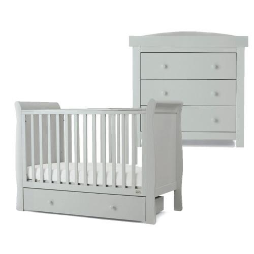 Mamas & Papas Mia Sleigh 2 Piece Cot Set with Undercot Storage - Cool Grey