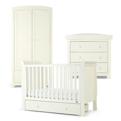 Mamas & Papas Mia Sleigh 3 Piece Cot Range with Undercot Storage - White