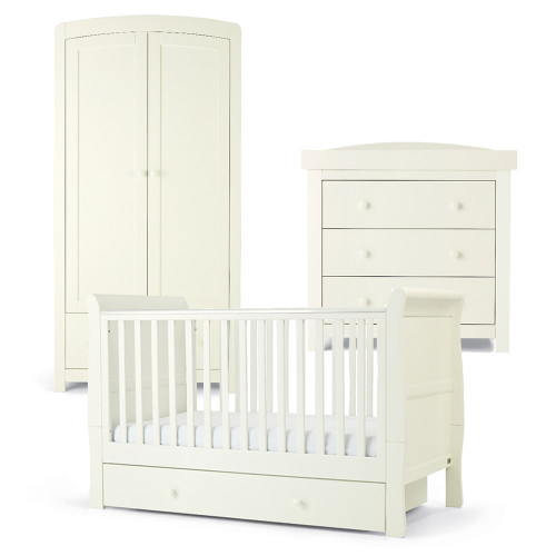 Mamas & Papas Mia Sleigh 3 Piece Cot/Toddler Bed Range with Underbed Storage - White