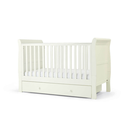 Mamas & Papas Mia Sleigh Cot/Toddler Bed with Underbed Storage - White