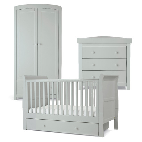 Mamas & Papas Mia Sleigh 3 Piece Cot/Toddler Bed Range with Underbed Storage - Cool Grey