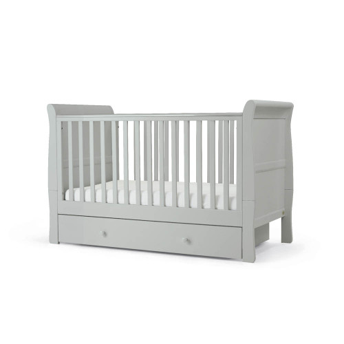 Mamas & Papas Mia Sleigh Cot/Toddler Bed with Underbed Storage - Cool Grey