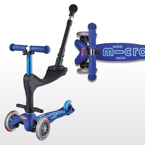Micro Mini 3in1 Deluxe Scooter + FREE Bell - Blue