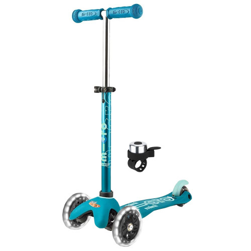 Micro Mini Deluxe LED Scooter + FREE Bell - Aqua