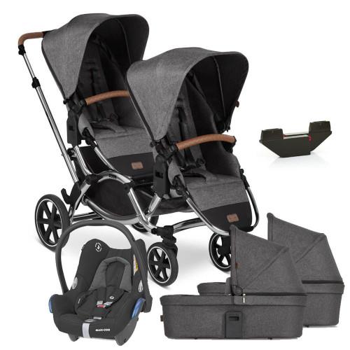 ABC Design Zoom inc 2 Seats + 2 Carrycots Diamond Edition + Cabriofix - Asphalt