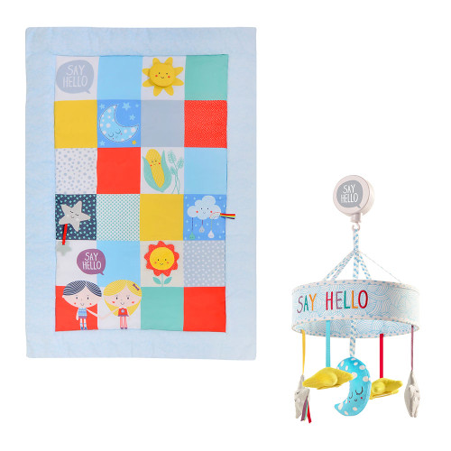 Baby Sensory Say Hello Patchwork Activity Mat + Cot Mobile