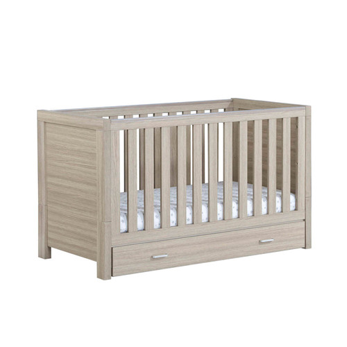 Babymore Luno Cot Bed + Drawer - Oak