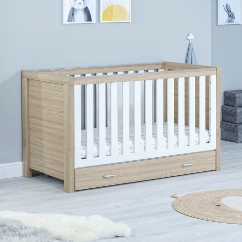 Babymore Luno Cot Bed + Drawer - Oak/White
