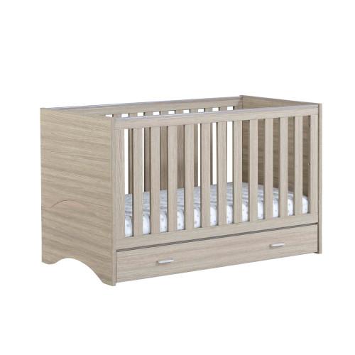 Babymore Veni Cot Bed + Drawer - Oak