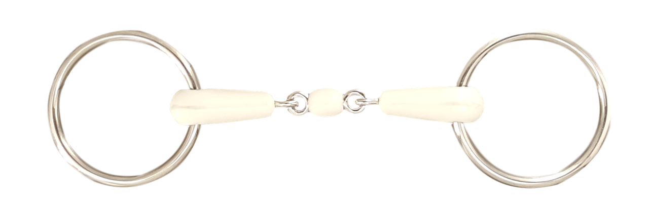 Loose Ring Snaffle Horse Bit with Happy Mouth Style Mouthpiece & Peanut Link